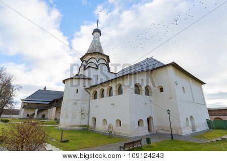 Suzdal, Russia -06.11.2015. Uspensky Refectory Church at Suzdal was built  16th century. Golden Ring