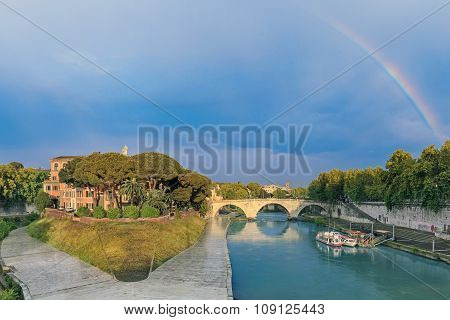 Tiber Island and Pons Cestius bridge in Rome