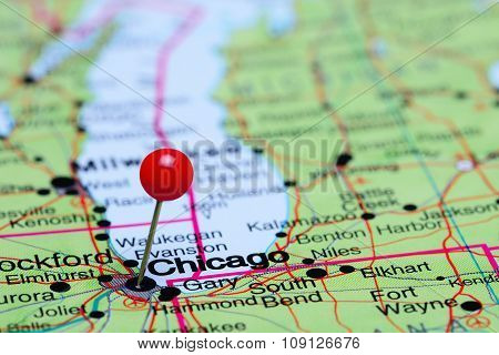 Chicago pinned on a map of USA
