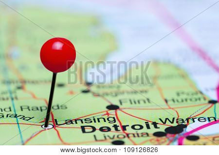 Lansing pinned on a map of USA