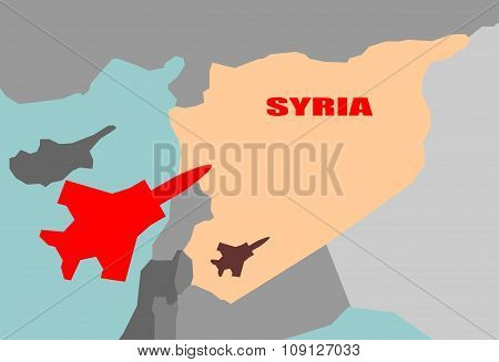 Jet Bomber above syria map flying