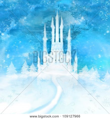 Christmas Winter Castle  On The Hill
