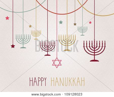 Hanukkah poster. Hanging colorful menorah