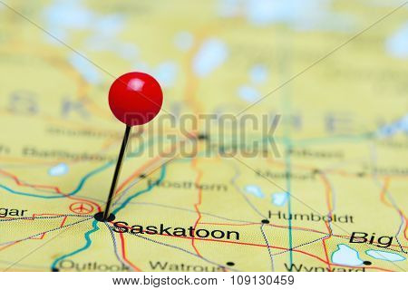 Saskatoon pinned on a map of Canada