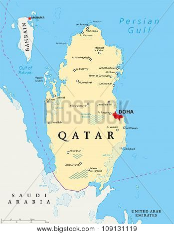 Qatar political map with capital Doha, national borders, important cities, salt pans and reefs. English labeling and scaling. Illustration. poster