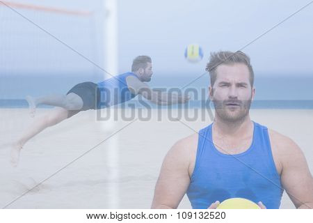 Double Exposure Volley Player On The Beach.