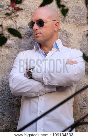 Portrait of a bald headed man