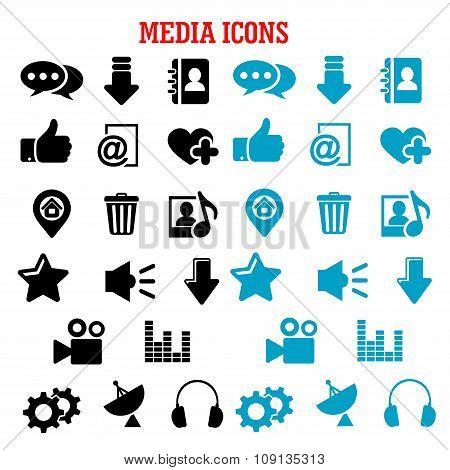 Social media black and blue flat icons set