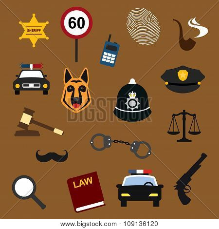 Police, law and justice flat icons set