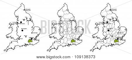 Surrey located on map of England