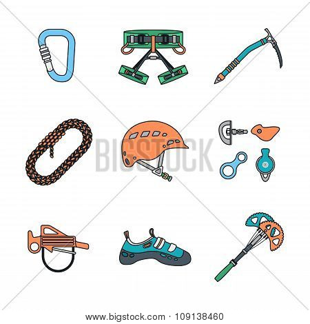Colored Outline Various Alpinism Tools Icons Collection.