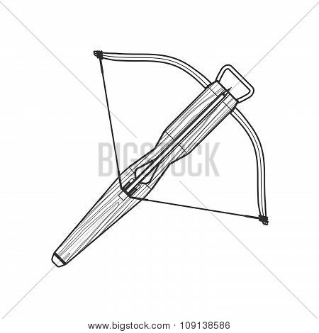 Outline Medieval Crossbow Arrow Icon Illustration.