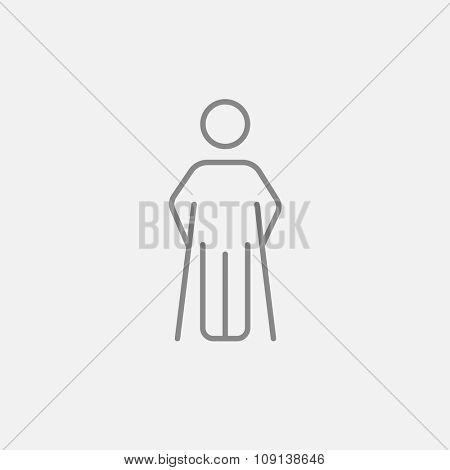 Man with crutches line icon for web, mobile and infographics. Vector dark grey icon isolated on light grey background.