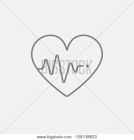 Heart symbol with cardiogram line icon for web, mobile and infographics. Vector dark grey icon isolated on light grey background.