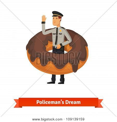 Cartoon policeman in the donut dream concept
