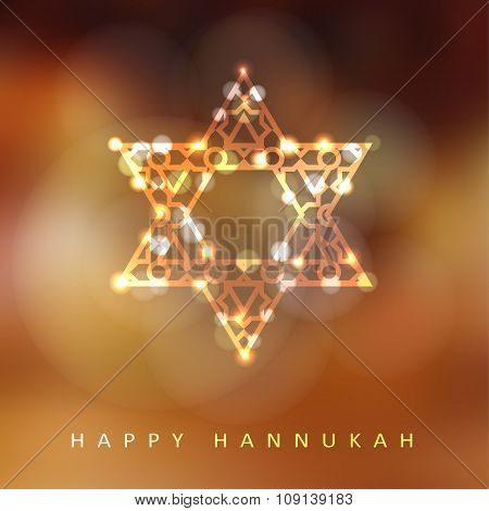 Jewish Holiday Hannukah Greeting Card With Ornamental Glittering Jewish Star, Vector