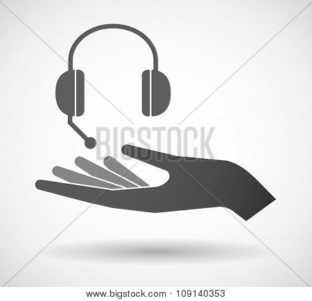 Isolated Vector Hand Giving  A Hands Free Phone Device