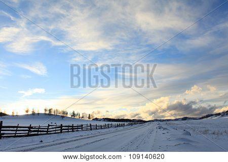 Winter hills at sunset