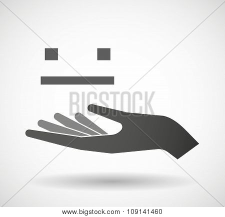 Isolated Vector Hand Giving A Emotionless Text Face