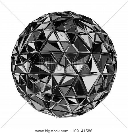 Geometric Black polygonal ball.