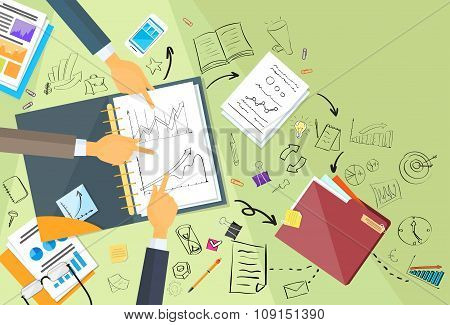 Business People Working Finance Graph Sketch Desk