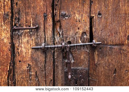 heck and lock on an old door