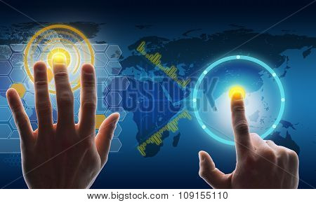 Buisnessmans hands touching holographic screen