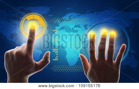 Buisnessman hands touching blue holographic screen