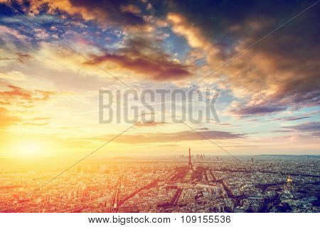 Paris, France skyline, panorama at sunset. View on Eiffel Tower, Champ de Mars