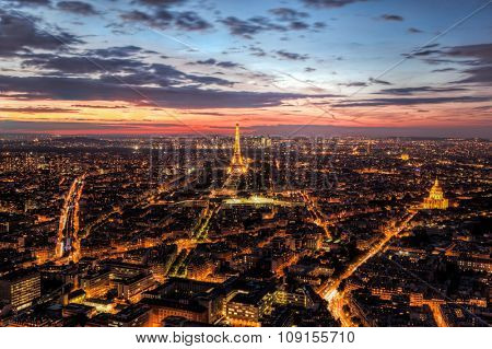 Paris, France skyline, panorama at sunset, young night. View on Eiffel Tower, Champ de Mars