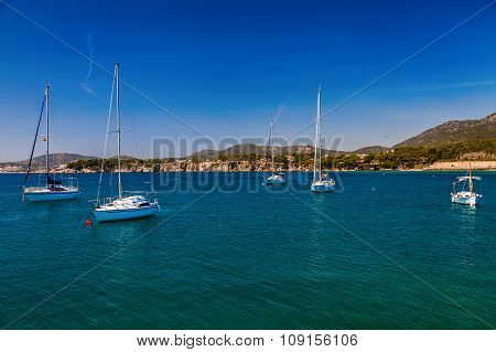 Floating Yachts In The Harbor Of Portals Nous