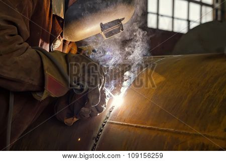 Welder Performs Welding Large Diameter Pipe