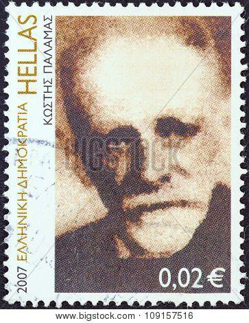 GREECE - CIRCA 2007: Stamp shows poet Kostis Palamas (Engraving by Giannis Gourzis)
