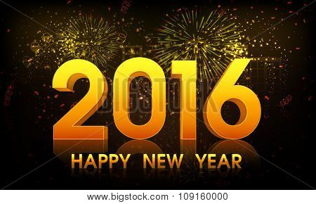 Shiny elegant greeting card design with glossy text 2016 on fireworks background for Happy New Year celebration.
