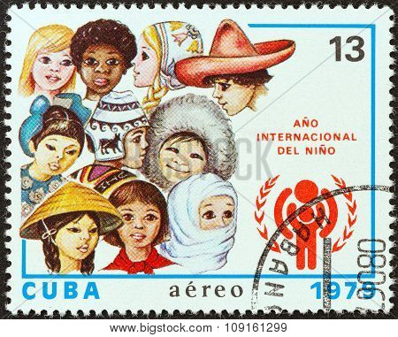 CUBA - CIRCA 1979: A stamp printed in Cuba shows children from around the world