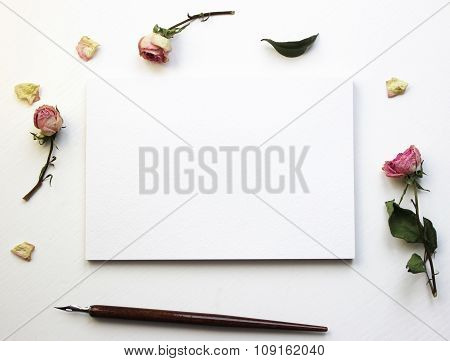 Mock-up For Presentations With Dry Roses