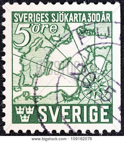 SWEDEN - CIRCA 1944: Stamp shows first Swedish navigators chart