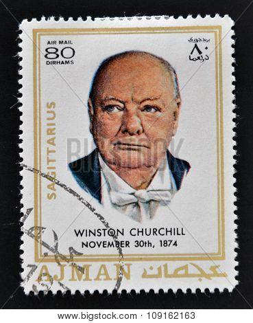 AJMAN - CIRCA 1970: A stamp printed in Ajman shows Winston Churchill circa 1970