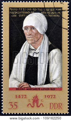 stamp printed in the East Germany shows a painting by the artist Lucas Cranach