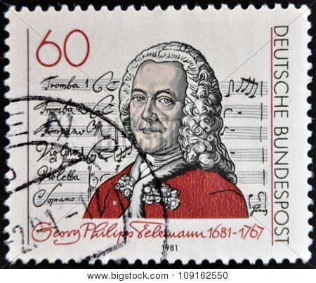 GERMANY - CIRCA 1981: A stamp printed in Germany shows Georg Philipp Telemann circa 1981