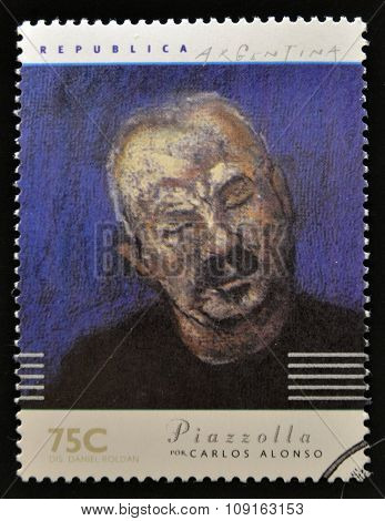 A stamp printed in Argentina dedicated to argentinian musicians shows Piazzolla