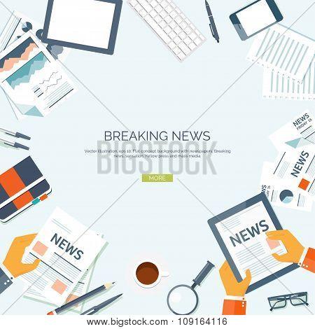 Vector illustration.  Flat header. Newsletter, information. Business,online market news.