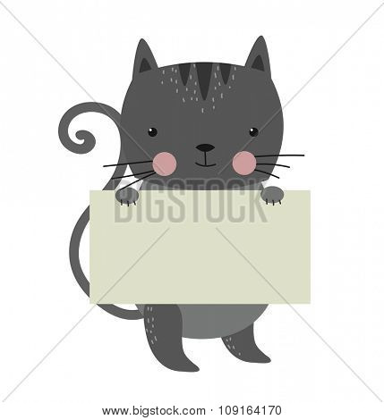 Cat pet animal holding clean welcome white board banner vector cartoon. Pets vector kitty. Home pets gray cat. Cat cartoon illustration. Vector cat holding white sale board. Cat holding empty text