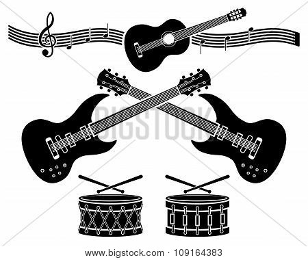 Decorative elements. Musical instruments.
