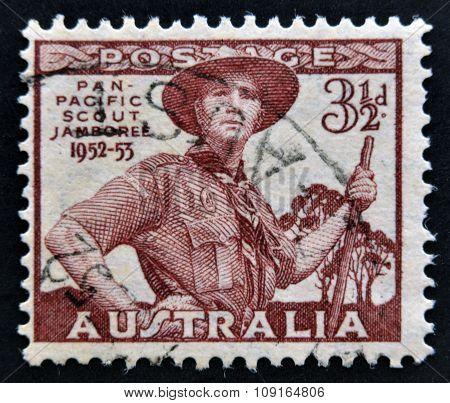 AUSTRALIA - CIRCA 1952: A stamp printed in Australia shows Pan-Pacific Scout Jamboree Greystanes