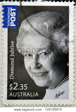 AUSTRALIA - CIRCA 2012: stamp printed in Australia shows Queen Elizabeth II circa 2012