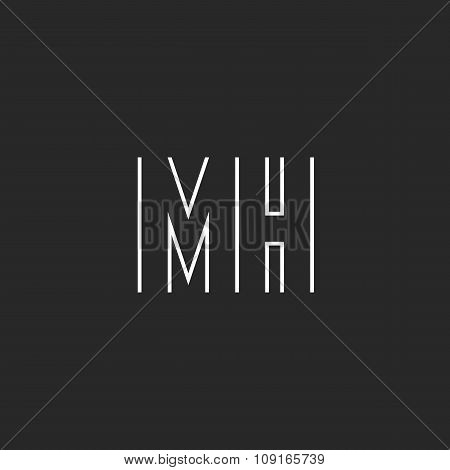 Letter Mh Logo Monogram, M And H Union, Mockup Thin Line Design Element, Business Card Emblem Templa