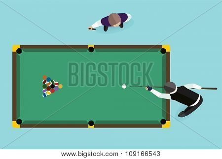 Billiards flat illustration. Billiards  pool game accessories. Billiards club, billiards table and billiards players. Billiard pool game balls icons set vector illustration. Billiards vector game