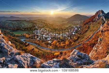 Landscape With Village, Mountains And Blu Sky - Panoramic