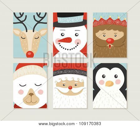 Merry Christmas Card Set Cute Retro Santa Elf Face
